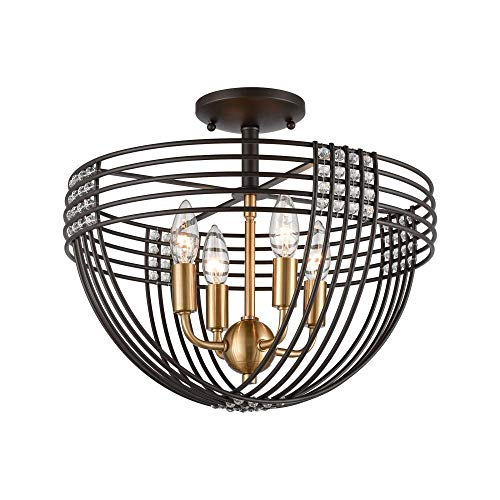 Elk Lighting 11191/4 Concentric 4-Light Oil Rubbed Bronze with Clear Crystal Beads Semi Flush Mount, Satin Brass