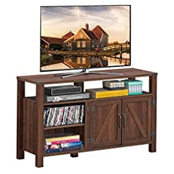 Farmhouse Living Room Furniture Tangkula Farmhouse Wooden TV Stand for TVs up to 55 Inches Flat Screen, TV Console Table Cabinet w/Barn Door… farmhouse tv stands