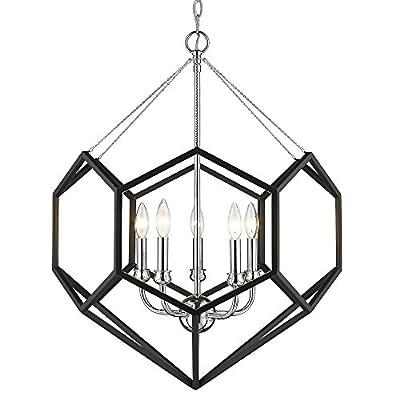 Golden Lighting 2918-5 CH-BLK Damina - Five Light Chandelier, Chrome/Black Finish