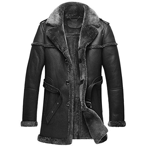 Notched Collar Shearling Coat - 3