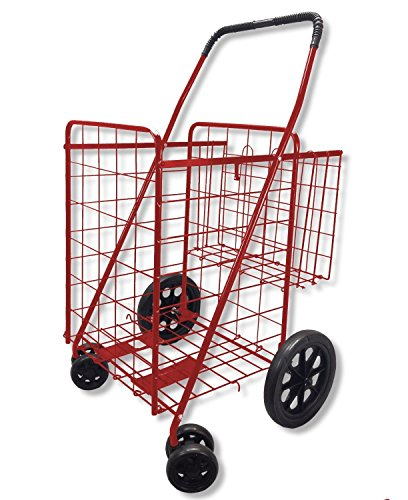 MOD Complete MDC77037R Portable Double Basket Flat Folding Shopping Cart with Swivel Wheels, Red