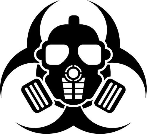 Biohazard Gas Mask Respirator Decal Sticker Car Motorcycle Truck Bumper Window Laptop Wall Décor Size- 20 Inch Wide Black -