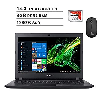 2020 Newest Acer Premium Aspire 3 14 Inch Laptop (AMD A9-9420e 1.8GHz up to 2.7GHz, 8GB DDR4 RAM, 128GB SSD, AMD Radeon R5, Webcam, Windows 10 Home) (Black) + NexiGo Wireless Mouse Bundle