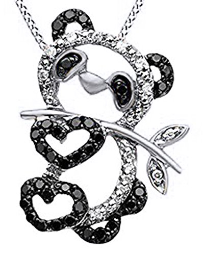 Jewel Zone US Black & White Natural Diamond Teddy bear Pendant in 10K Solid White Gold (1/3 cttw)