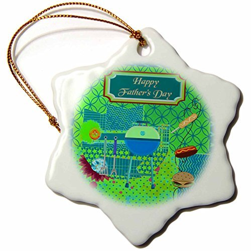 OneMtoss Beverly Turner Fathers Day Design Barbecue Theme Fathers Day, Abstract, Pit, Hot Dogs, Hamburger Snowflake Porcelain Ornament