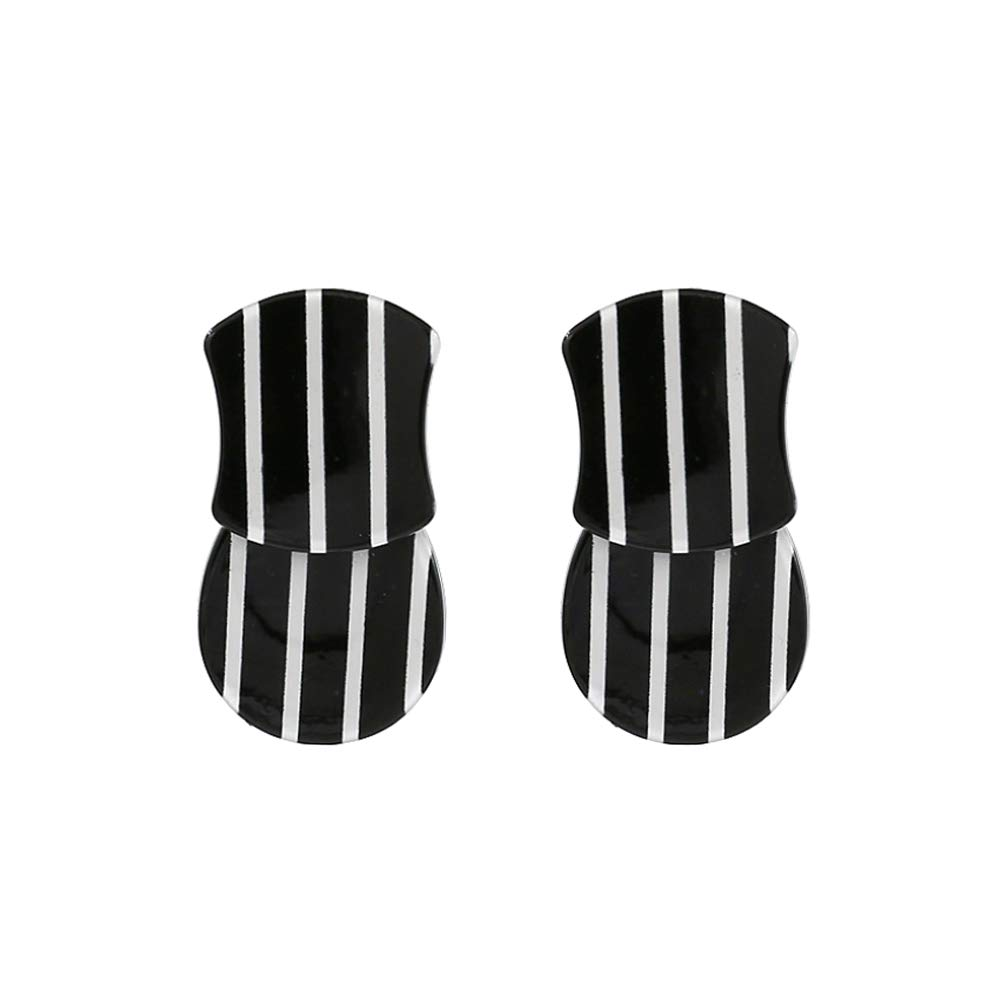 Classic Acrylic Black and White Striped Geometric Drop Earrings KELMALL COLLECTION