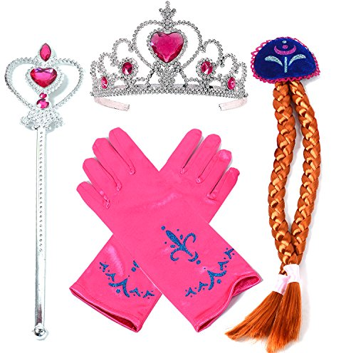 [Onshine Princess Dress up Accessories - 4 Pieces Gift Set Tiara Crown Wig Wand Gloves Red] (Old Wigs)