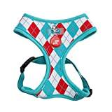 Puppia Authentic Argyle Harness A, Medium, Aqua