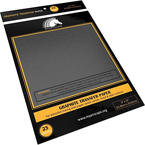 Graphite Transfer Paper - 9 x 13 - 25 Sheets - Waxed Carbon Paper for Tracing - MyArtscape (Black)