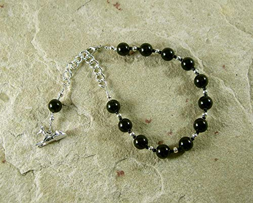 Anubis Prayer Bead Bracelet in Black Onyx: Egyptian God of the Underworld and the Afterlife, Guardian of the Dead