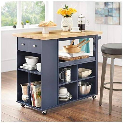 Kitchen angelo:HOME Kitchen Island/Cart – Boston (Navy) modern kitchen islands and carts