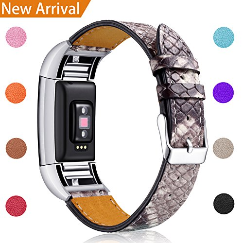 For Fitbit Charge 2 Replacement Bands, Hotodeal Classic Genuine Leather Wristband With Metal Connectors, Fitness Strap for Charge 2, Black Snakeskin