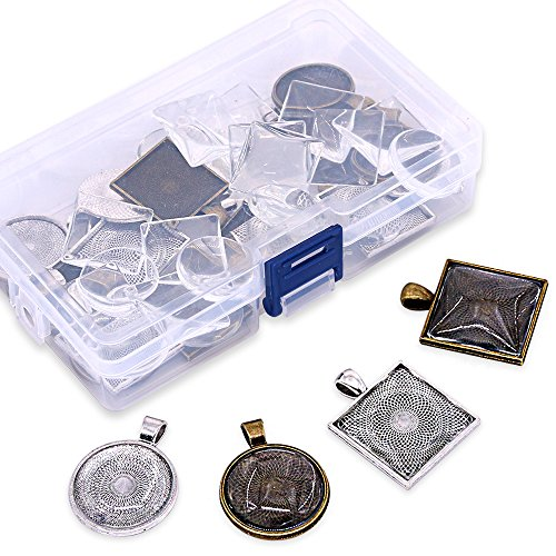 (Glarks 48-Pieces Round and Square Pendant Trays with Glass Cabochon Dome Tiles Clear Cameo for Crafting DIY Jewelry Making, 24 Sets)