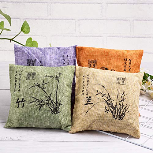 Grace Art, Decorative Activated Charcoal Air Purifying Bag, Set of 4 Designs/Colors, Featuring Traditional Asian Artwork, Pillow Shape, Each 1.1lb/500g, Total 4.4lb/2000g, Unscented