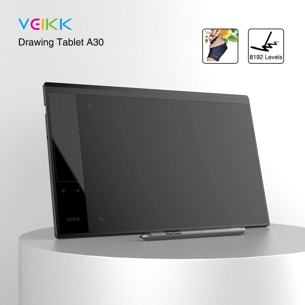 Drawing Tablet VEIKK A30 10x6 Inch Pen Tablet with Pressure Sensitivity 8192 Levels Battery Free Pen for Digital Drawing with Artist Glove