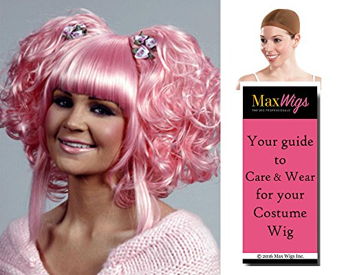 Karmae Geass Anya Color Hot Pink - Enigma Wigs Women's Anime Wavy Cosplay Japanese Bundle With Wig Cap, MaxWigs Costume Wig Care (Hot Holloween Costumes)