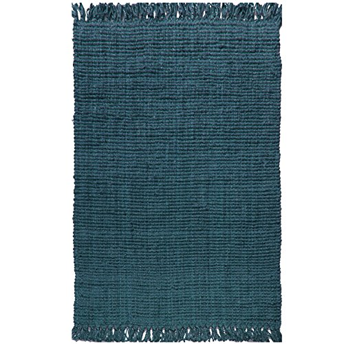 Boucle Jute - A1 Home Collections A1NFR018-C A1HC Handspun Jute Boucle with Fringes, Dark Grey, 8' L x 10' W,