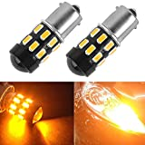 HOLONYAK 2 X 1000 Lumens Extremely Bright 5730 Chipsets 1156 1141 1073 7506 LED Bulbs with Projector Use for Back Up Reverse Lights,Brake Lights,Tail Lights,Rv lights,Amber Yellow