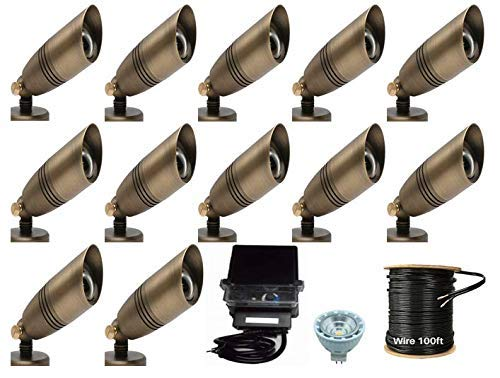 LUMIÉRE Waterproof Outdoor Landscape Lighting Solid Brass Low Voltage Spot Light - Outdoor Landscape Lighting (12 Spot Lights - Complete Landscape Lighting KIT)