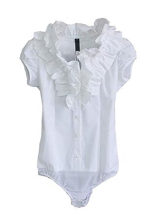 c2ec974e1e3 Amazon.com  Soojun Womens Stand Up Collar Ruffle Shirt Button Up Bodysuit   Clothing