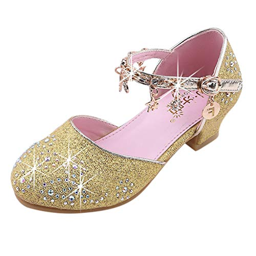 Tantisy ♣↭♣ Girl's Tassel Little Princess Crystal Shoes/Flower Girl Dress Ballet Mary Jane Party Shoes Low Heel/Big Kids Gold