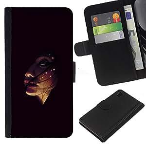 JackGot ( Face In The Dark ) Sony Xperia Z4v / Sony Xperia Z4 / E6508 la tarjeta de Crédito Slots PU Funda de cuero Monedero caso cubierta de piel