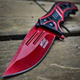 "8"" M-TECH BLOOD REDFOLDING POCKET KNIFE Tactical Combat"