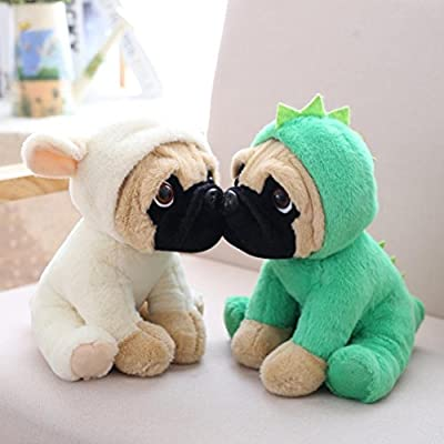 LILICAT Soft and Cuddly Pug Plush Toys in Outfits 24cm Puppy Cartoon Plush  Toy Cute Dress Up Puppy Doll Stuffed Interactive Toys Large Soft Toy Cute
