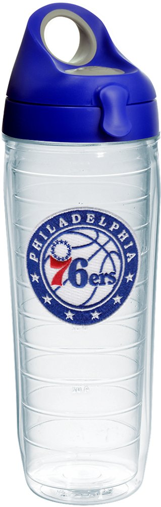 Tervis 1231831 NBA Philadelphia 76ers Circle With Stars Tumbler with Emblem and Blue with Gray Lid 24oz Water Bottle, Clear