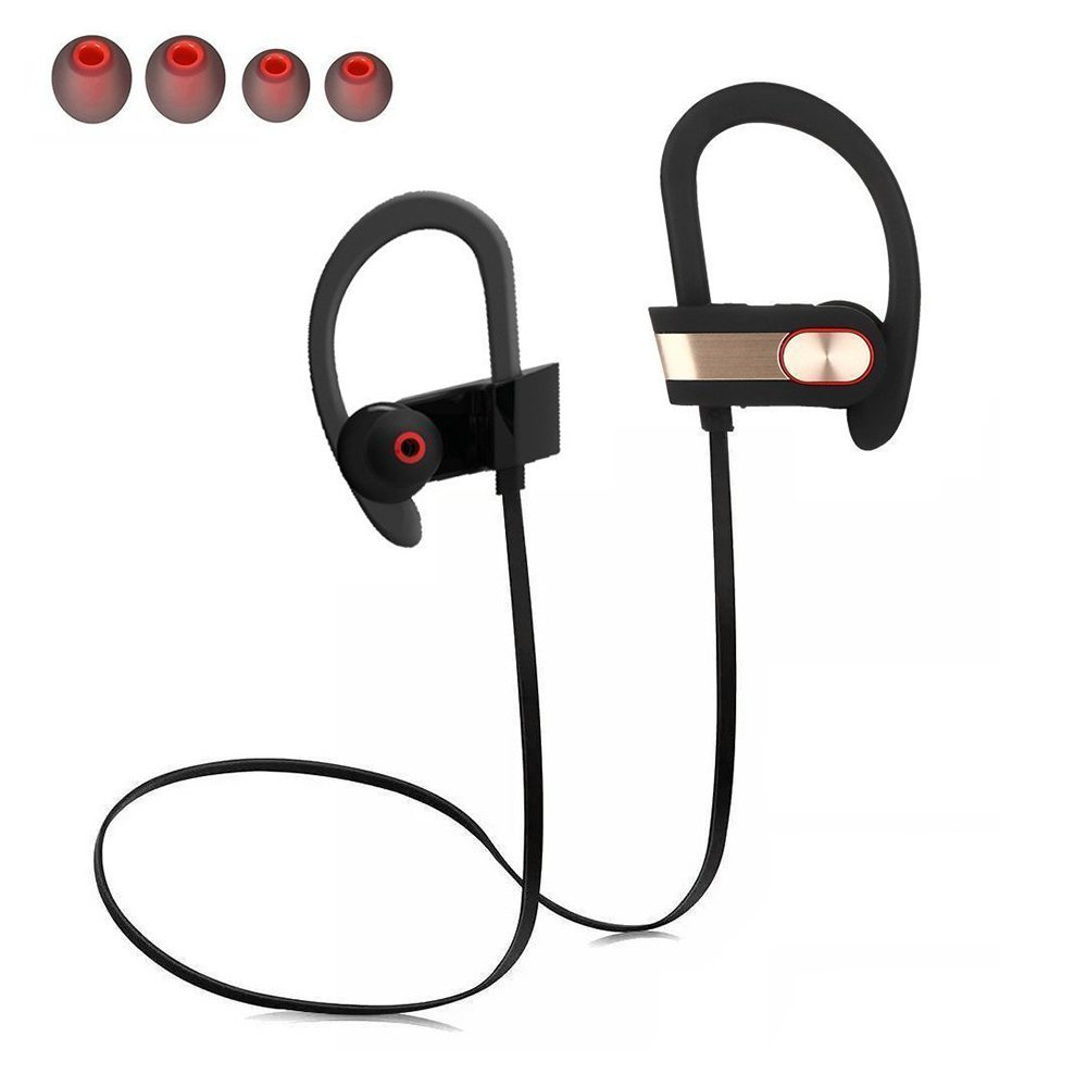 Bluetooth Headphones, ZEPST Wireless Earphones Bluetooth 4.0 Stereo Noise Cancelling Sweatproof Sports Earphones with Mic, for Running, Cycling, Gym, Travelling and More (Gold)