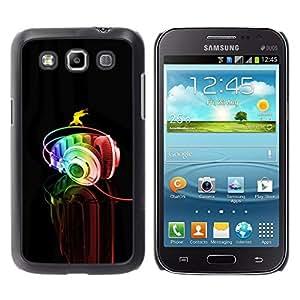 TECHCASE**Cubierta de la caja de protección la piel dura para el ** Samsung Galaxy Win I8550 I8552 Grand Quattro ** Headphones Colorful Music Art Rainbow Dance
