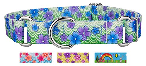 Image of Country Brook Design Blue April Blossoms Martingale Dog Collar - Medium