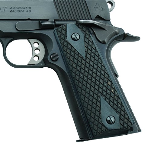 Altamont 1911 Grips - Spanish Diamond - Full Size 1911 Wood Grips w. Ambi Safety fits Most Commander, Standard & Government 1911 Models - Made in USA (Blackwood)