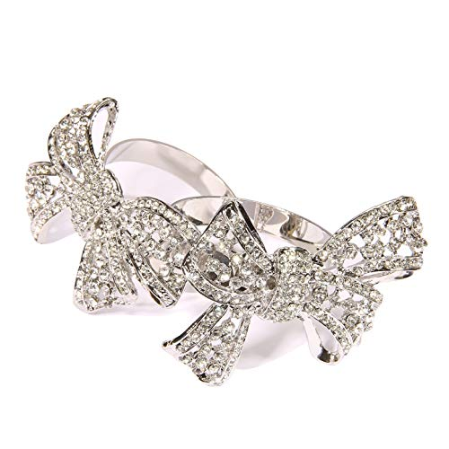 QUEENSHOW Authentic Silver Napkin Rings Set Kitchen Dining Table Decor in Solid Stainless Metal for Wedding and Party, Bow Tie 4 Pics]()