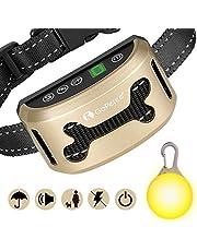 GoPetee Collare Antiabbaio Cane con Luce LED Suono & Vibrazione Fochea con 7 Livelli Regolabili di Sensitività Collare Automatico Antiabbaio Flessibile Regolabile Collare in Nylon Flessibile(Oro)
