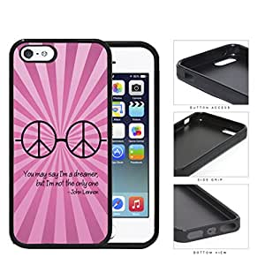 Dreamer John Lennon Quote with Peace Hippie Sunglasses (Pink Swirls) iPhone 5 5s Rubber Silicone TPU Cell Phone Case