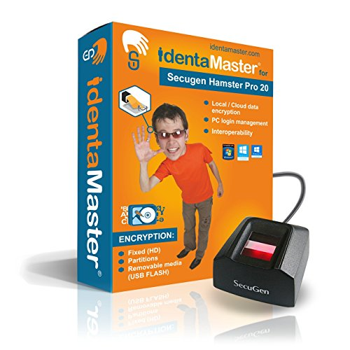 IdentaMaster Biometric Security Software with SecuGen Hamster Pro 20 Waterproof - Software Included Encryption, PC Login for Windows 7/8/10 by IdentaZone