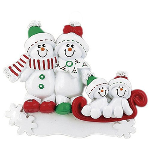 Personalized Snowman Sled Family of 4 Christmas Ornament for Tree 2018 - Cute Children in Green Winter Hat Red Bow Hug on Snowflake - Gift Kid Holiday Activity Tradition - (Personalized Snowman)