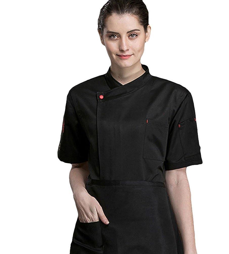 Dooxii Unisex Donna Uomo Estate Manica Corta Giacca da Chef Moda Ristorante  Occidentale Cucina Mensa Hotel 25d7e0b718be