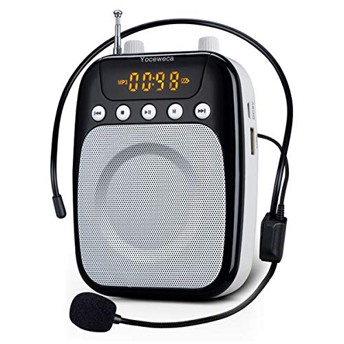 Voice Amplifier Yoceweca Personal Microphone 10W Rechargeable Pa Speaker with FM Radio, Perfect Portable Voice Amplifier for Teachers, Coaches, Tour Guides, Yoga, Meeting - Black & White