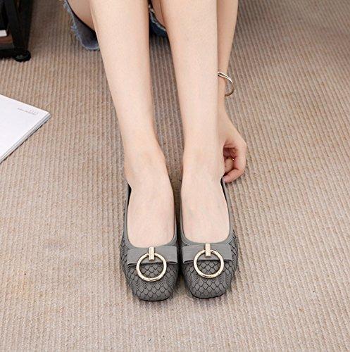 Miyoopark MiyooparkUK-AMT806-2 - Bailarinas de Piel Para Mujer gris