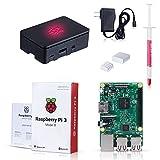 Raspberry Pi 3, Raspberry Pi Model B Kit with Black Case Set of 2 raspberry pi 3 heatsink with Power Supply Adaptor
