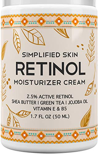 Retinol Moisturizer Cream 2.5% for Face & Eye Area with Vitamin E & Hyaluronic Acid for Anti Aging, Wrinkles & Acne - Best Night & Day Facial Cream by Simplified Skin 1.7 oz (Best Retinol Cream For Mature Skin)