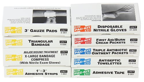 Pac-Kit by First Aid Only 5001R 65 Piece First Aid Refill Pack, For 5001 and 5011 10 Unit Kits Kit 10 Unit