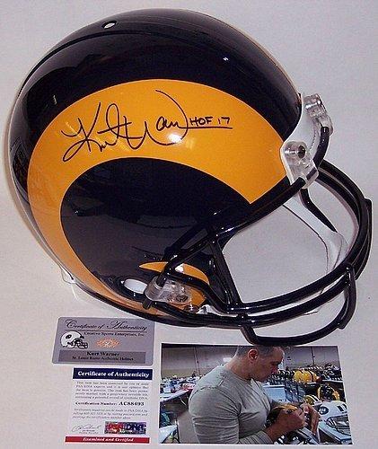 Kurt Warner Hand Signed Rams Full Size Authentic Pro Helmet Hof 2017 - PSA/DNA Authentic - Authentic Kurt Warner Jersey