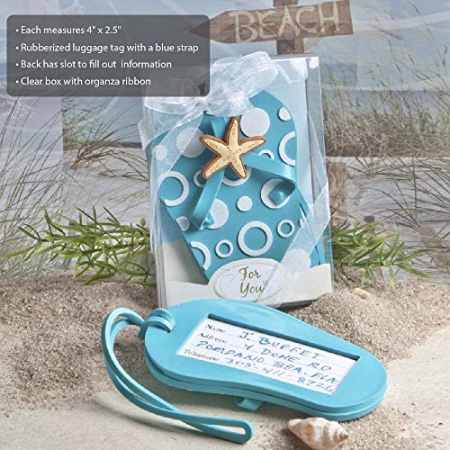 FASHIONCRAFT 4763 Flip Flop Luggage Tags Blue Luggage Tag Gift for Travelers Set of 4