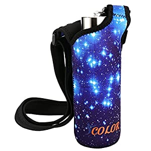 "ICOLOR Water Bottle Carrier, Neoprene Water Bottle Holder with Adjustable Shoulder strap,Sling insulated Sports Water Bottle bag Case Pouch Cover,Fits Bottle w/ the diameter less than 2.75 "" (WBC-007)"