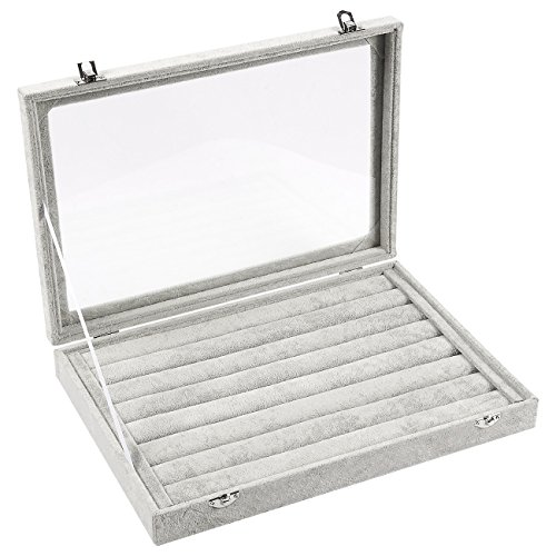 Jewelry Box – Stackable Display Case, Ring Organizer Tray, Ring Holder Storage with Transparent Glass Top, 7 Slots, Grey - 13.75 x 9.5 x 1.25 Inches