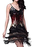 Vijiv Women's Adjustable Strap Gradient Sequin Fringe Dance Party Dress