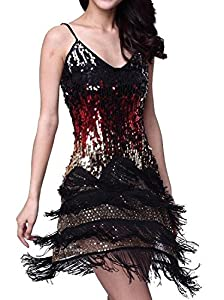 15. Vijiv Gradient Sequin Fringe Dance Party Dress